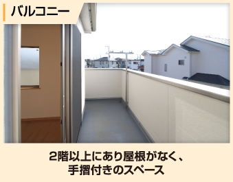 バルコニーとは2階以上にあり屋根がなく、 手摺付きのスペース
